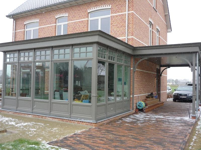 Houten carport en veranda